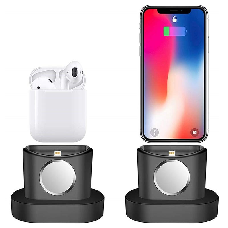 Station d\'Accueil en Silicone 3-en-1 - iPhone, Apple Watch, AirPods - Noire