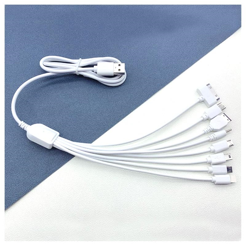 8-in-1 USB Charging Cable - Lightning, USB-C, MicroUSB, 30-pin - 1m - White