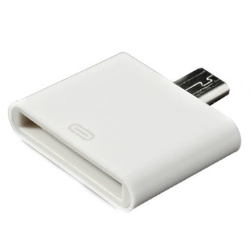 adaptateur compatible 30 broches micro usb blanc. Black Bedroom Furniture Sets. Home Design Ideas
