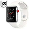 Apple Watch Series 3 LTE MQLV2ZD/A - Acier Inoxydable, Bracelet Sport, 38mm, 16Go - Blanc/Argenté