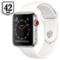 Apple Watch Series 3 LTE MQLY2ZD/A - Acier Inoxydable, Bracelet Sport, 42mm, 16Go - Argenté/Blanc