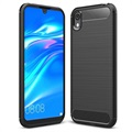 Brushed Huawei Y5 (2019), Honor 8S TPU Case - Carbon Fiber - Black