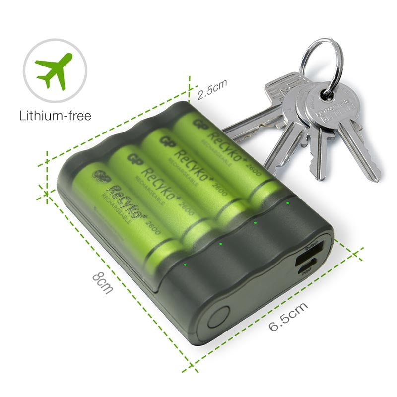 Chargeur de Pile USB & Batterie Externe GP Charge AnyWay AA/AAA