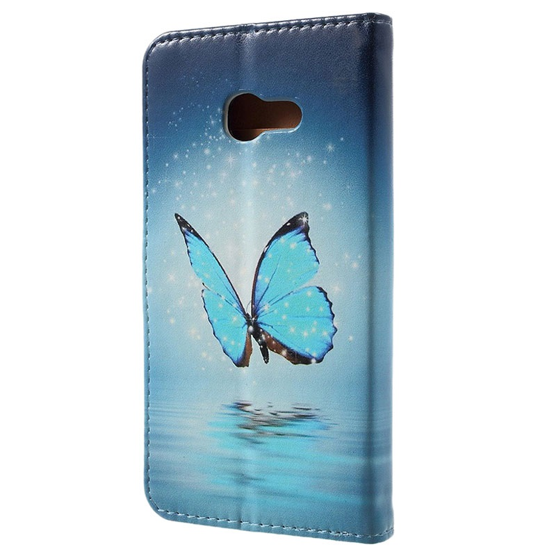 etui portefeuille glam pour samsung galaxy a3 2017 papillon bleu. Black Bedroom Furniture Sets. Home Design Ideas