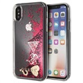 Coque iPhone X / iPhone XS Guess Glitter Collection - Framboise
