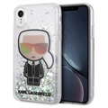 Coque iPhone XR Karl Lagerfeld Ikonik Liquid Glitter - Transparente