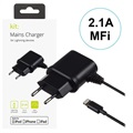 Chargeur Secteur Lightning MFi Kit - iPhone, iPad, iPod - 2.1A - Noir