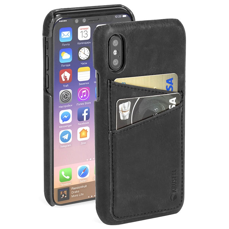 coque en cuir krusell sunne 2 card pour iphone x noire. Black Bedroom Furniture Sets. Home Design Ideas
