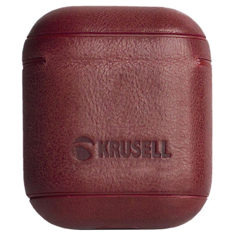 Étui en Cuir Apple AirPods Krusell Sunne - Rouge Vintage ddd9b2f3013