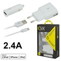 Set de Charge Lightning MFi 3-en-1 Ksix - 2.4A - Blanc