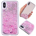 Coque en TPU Liquid Glitter Mirror pour iPhone X - Rose