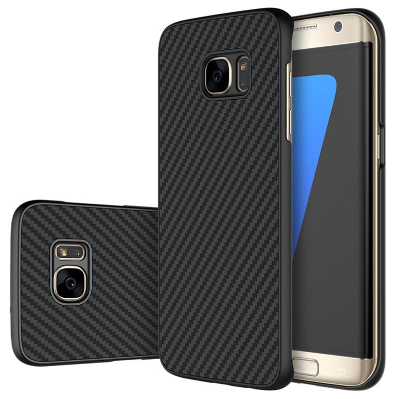 best cheap 33efb 12244 Samsung Galaxy S7 Edge Nillkin Carbon Fiber Case - Black