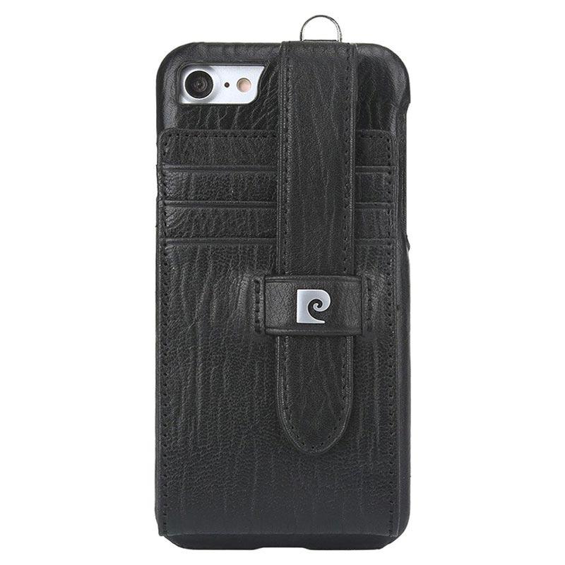 coque en cuir pierre cardin pour iphone 7 iphone 8 noire. Black Bedroom Furniture Sets. Home Design Ideas