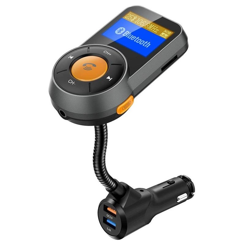 QC3.0 Car Charger and Bluetooth FM Transmitter BT76 - Black