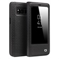 Samsung Galaxy S8 Qialino Smart View Flip Case - Grid Texture - Black