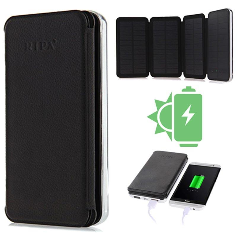 Chargeur Solaire et Batterie de Secours 10000mAh Ripa R5-Max - Noir