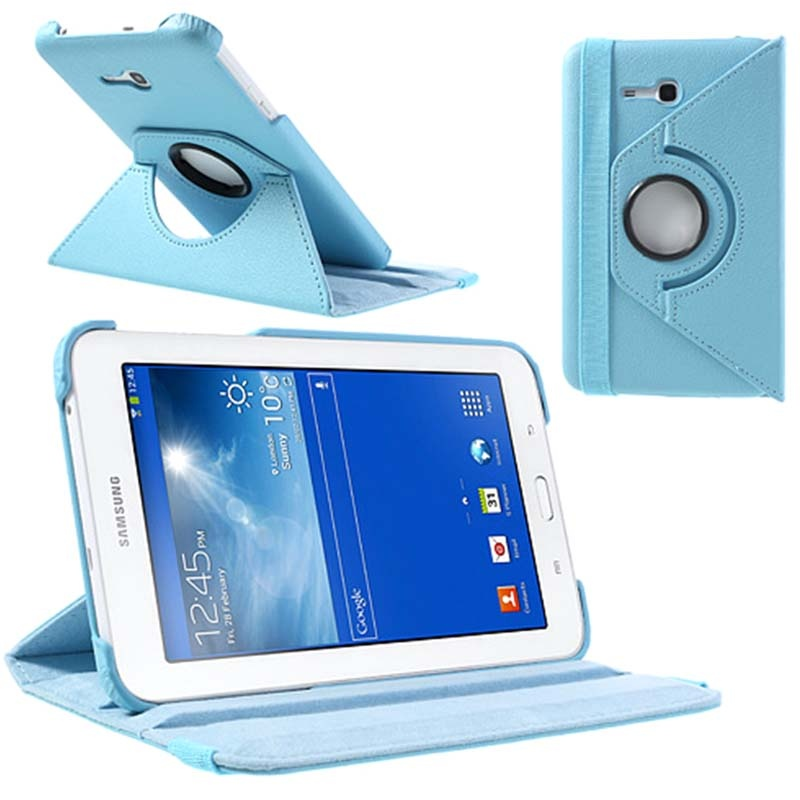 etui rotatif pour samsung galaxy tab 3 lite 7 0 bleu clair. Black Bedroom Furniture Sets. Home Design Ideas