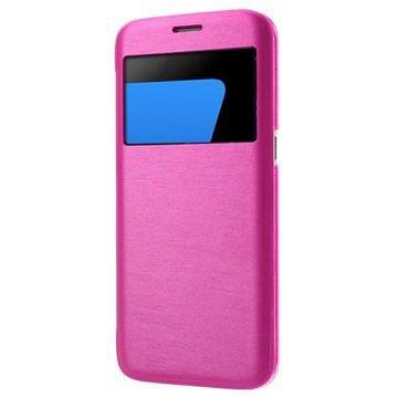 Étui à Rabat Slim View pour Samsung Galaxy S7 Edge - Rose Vif 31a7bf22fa3f