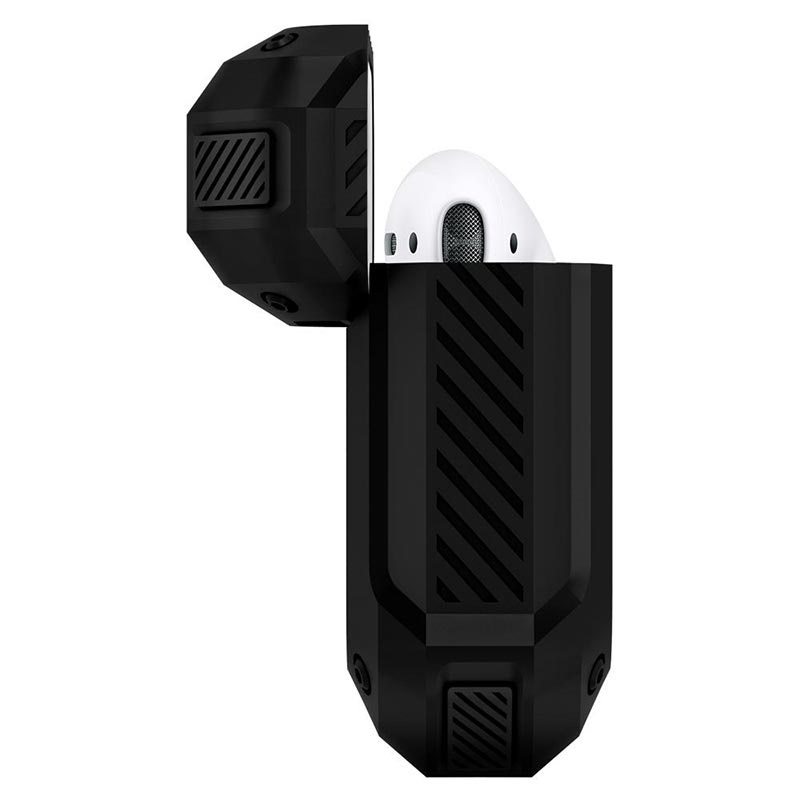 Étui Apple Airpods / Airpods 2 en Silicone Spigen Tough Armor - Noir