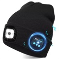 Unisex Knitted Bluetooth Beanie Hat with LED Light - Black