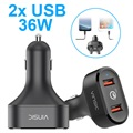 Chargeur Voiture Qualcomm Quick Charge 3.0 Vinsic VSCC208 - 2x USB, 6A, 36W