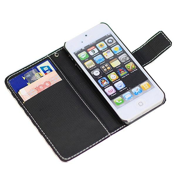 etui portefeuille pour iphone 5 5s se blanc noir. Black Bedroom Furniture Sets. Home Design Ideas