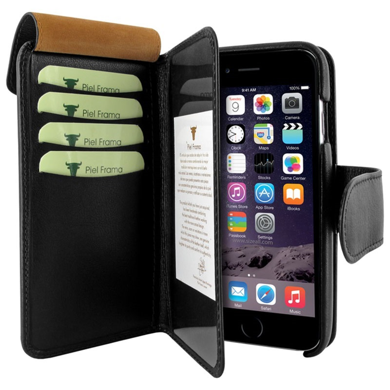 etui portefeuille en cuir piel frama imagnum pour iphone 6 plus 6s plus noir. Black Bedroom Furniture Sets. Home Design Ideas