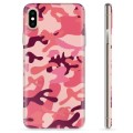 Coque iPhone X / iPhone XS en TPU - Camouflage Rose