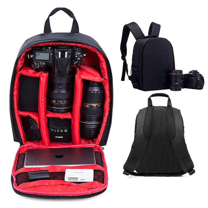 Premium Outdoor DSLR Camera Backpack - Black / Red