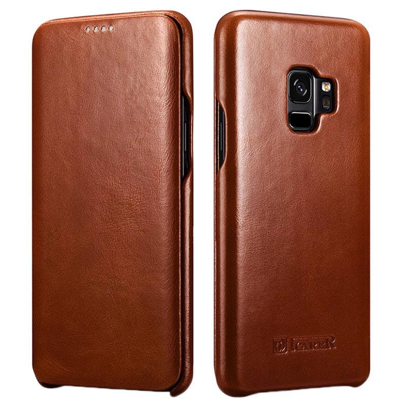 Étui à Rabat en Cuir iCarer Curved Edge Vintage pour Samsung Galaxy S9 - Marron